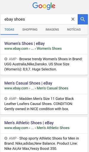 Pesquisa eBay Shoes para observação das páginas utilizando tecnologia AMP em seu e-commerce